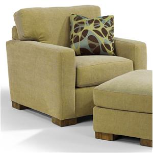 Contemporary Chair with Plush Seat Cushion and Track Arms