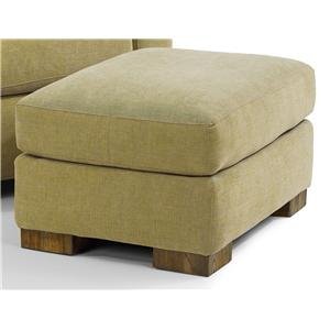 Contemporary Ottoman with Block Wood Feet