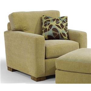 Contemporary Upholstered Chair with Block Wood Feet