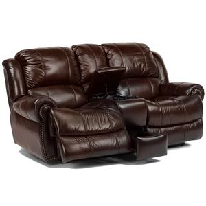 Traditional Styled Power Love Seat with Cup Holders and Storage Space