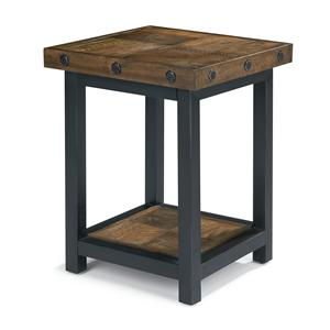 Chair Side Table with Square Reclaimed Wood Top