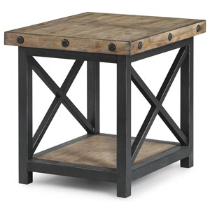 Rectangle End Table with Metal Base