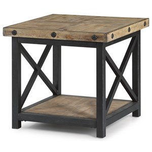 Square End Table with Wood Plank Top
