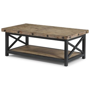 Rectangle Cocktail Table with Exposed Bolt Heads