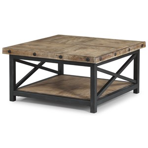 Square Cocktail Table with Metal Base and Wood Plank Top