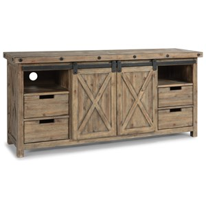 Entertainment Stand with Sliding Farmhouse Doors