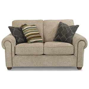 Customizable Loveseat with Rolled Arms