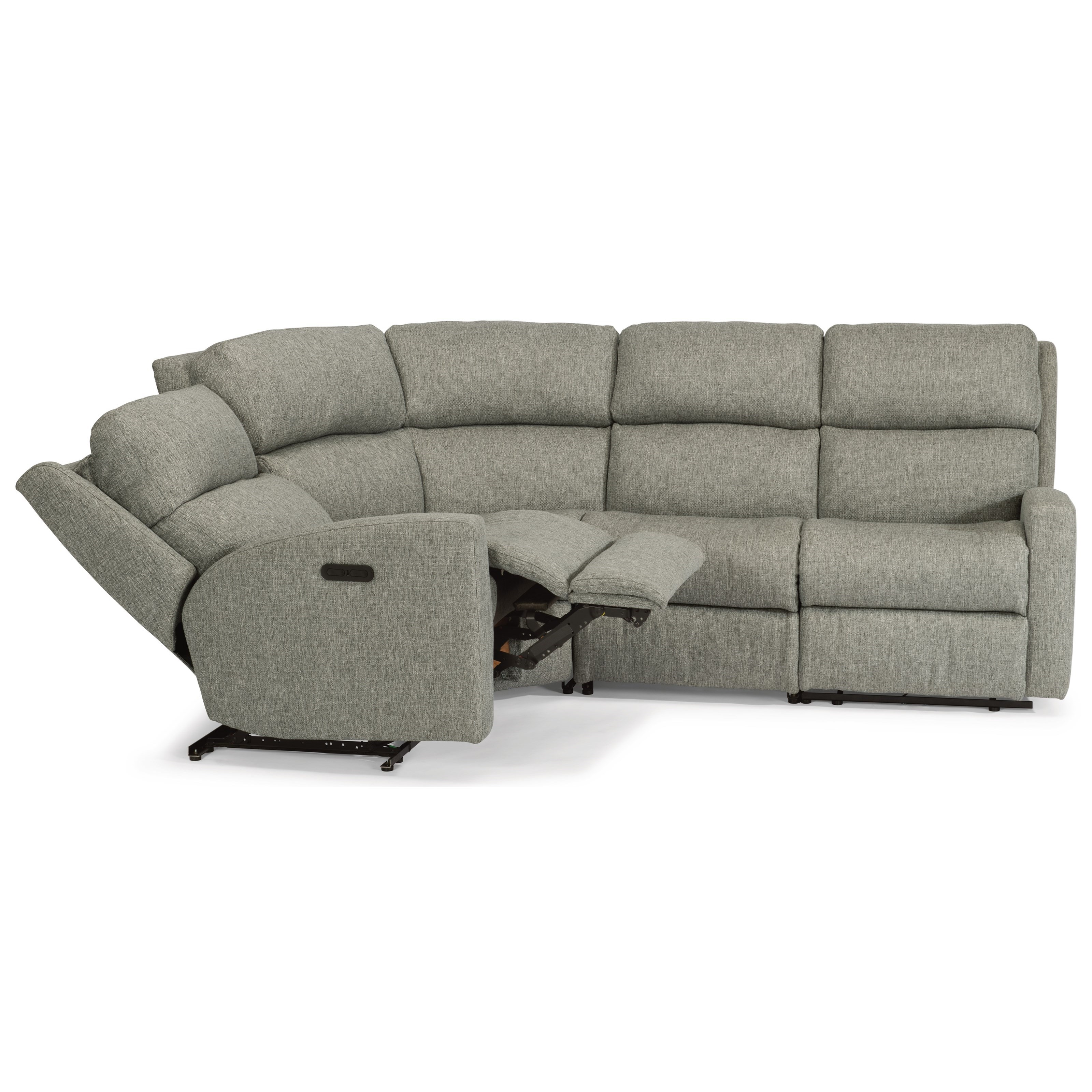 Catalina 4 Pc Reclining Sectional w/ Pwr Headrests by Flexsteel at Hudson's Furniture