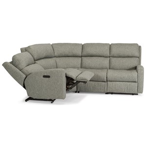 Flexsteel Catalina 4 Pc Reclining Sectional w/ Pwr Headrests