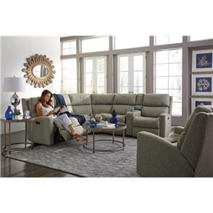 6PC Power Reclining Sectional w/ Power Headrests