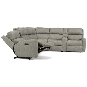 6 Piece Power Reclining Sectional with LAF/RAF Recliners, Armless Recliner, Armless Chair, Wedge and Console