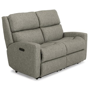 Contemporary Casual Power Reclining Loveseat with Power Adjustable Headrests and USB Ports