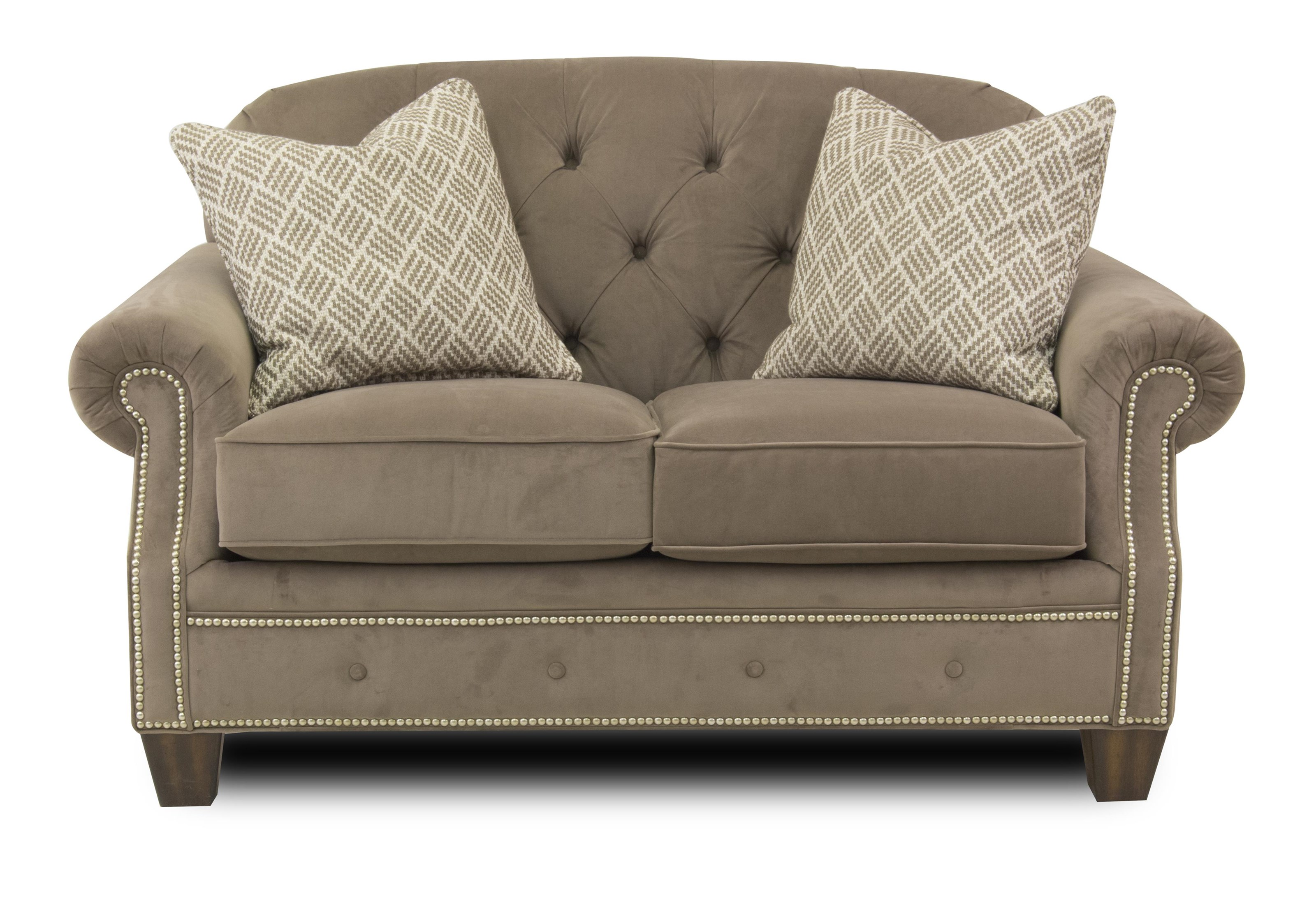 Transitional Button-Tufted Loveseat with Rolled Arms and Nailheads