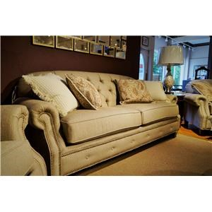 Transitional Button-Tufted Sofa with Rolled Arms and Nailheads