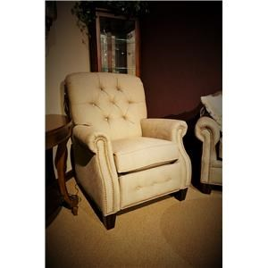 Transitional Button-Tufted High Leg Recliner with Power