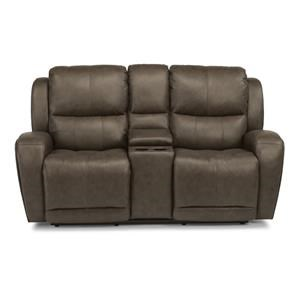 Contemporary Power Reclining Love Seat with Storage Console and USB Ports