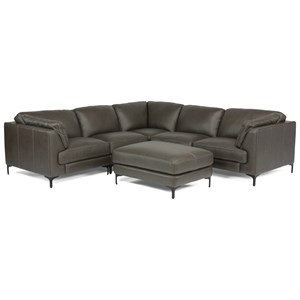 Contemporary 6-Piece Leather Sectional with Ottoman