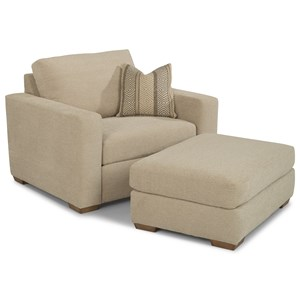 Casual Chair and Ottoman with Tapered Block Feet