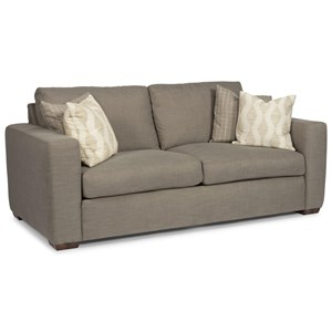 Casual Two-Cushion Sofa with Wide Track Arms