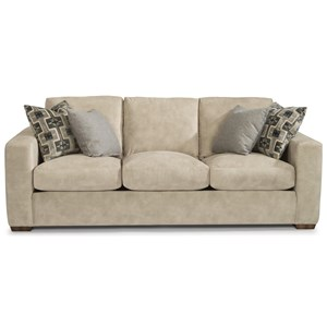"Casual 92"" Three-Cushion Sofa with Wide Track Arms"
