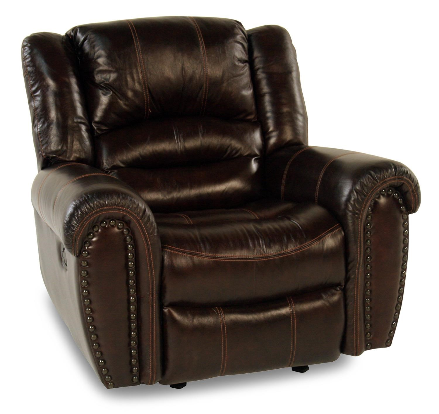 Leather Glider Recliner w/ Nailhead Trim