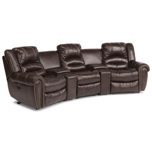 Five Piece Power Reclining Home Theater Group with Two Cupholder Consoles