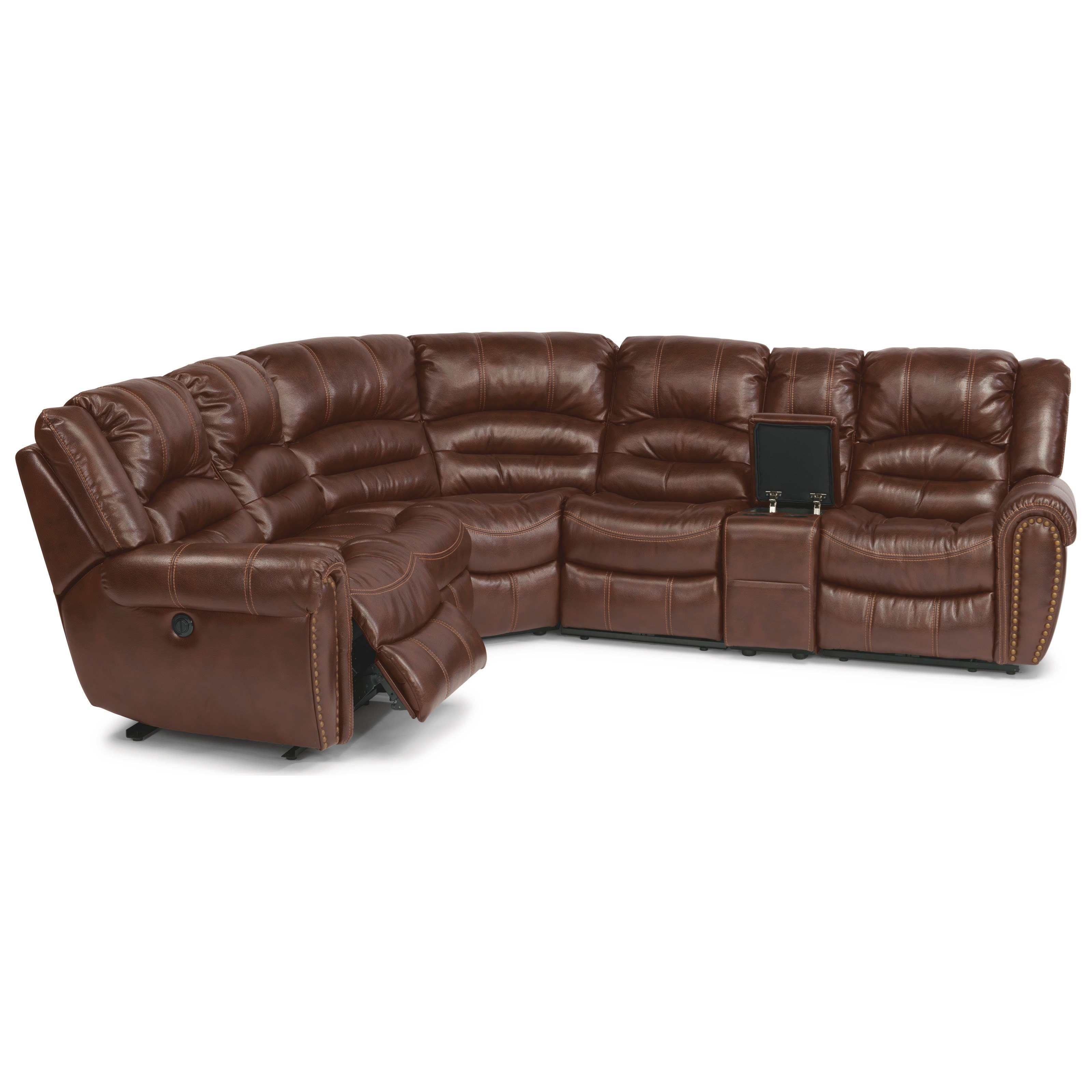 Latitudes - Town 6-Pc Power Sectional with Power Headrest by Flexsteel at Walker's Furniture