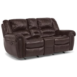 Dual Gliding Reclining Love Seat with Console