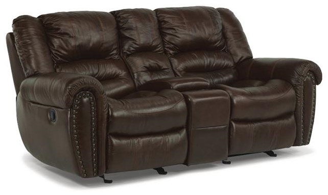 Latitudes - Crosstown Dual Gliding Reclining Love Seat by Flexsteel at Williams & Kay
