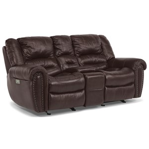 Power Reclining Love Seat with Console and Pillow Arms