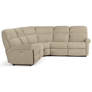 Casual 5 Piece Power Reclining Sectional with Power Headrests