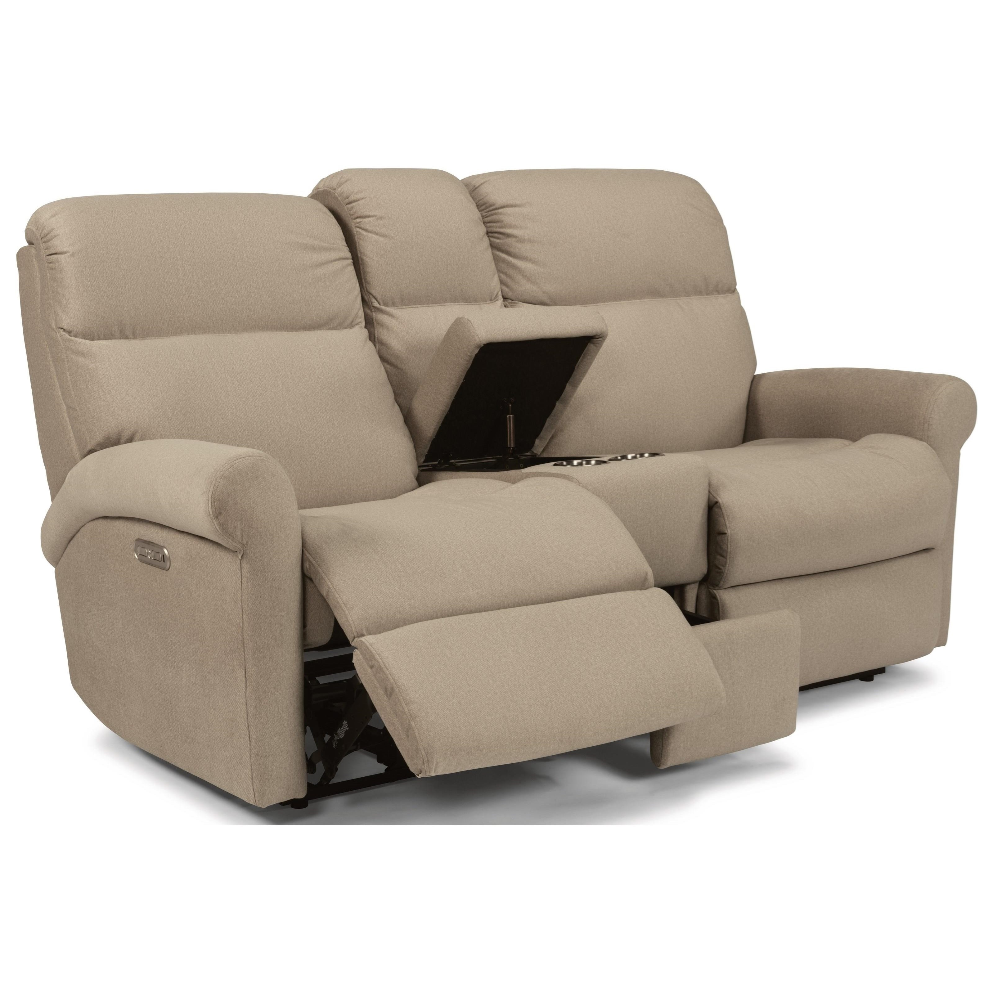 Davis Pwr Reclining Loveseat w/ Console & Pwr Head by Flexsteel at Factory Direct Furniture