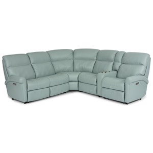 Casual 6 Piece Power Reclining Sectional with Power Headrests