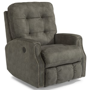 Button Tufted Power Rocker Recliner with Power Headrest
