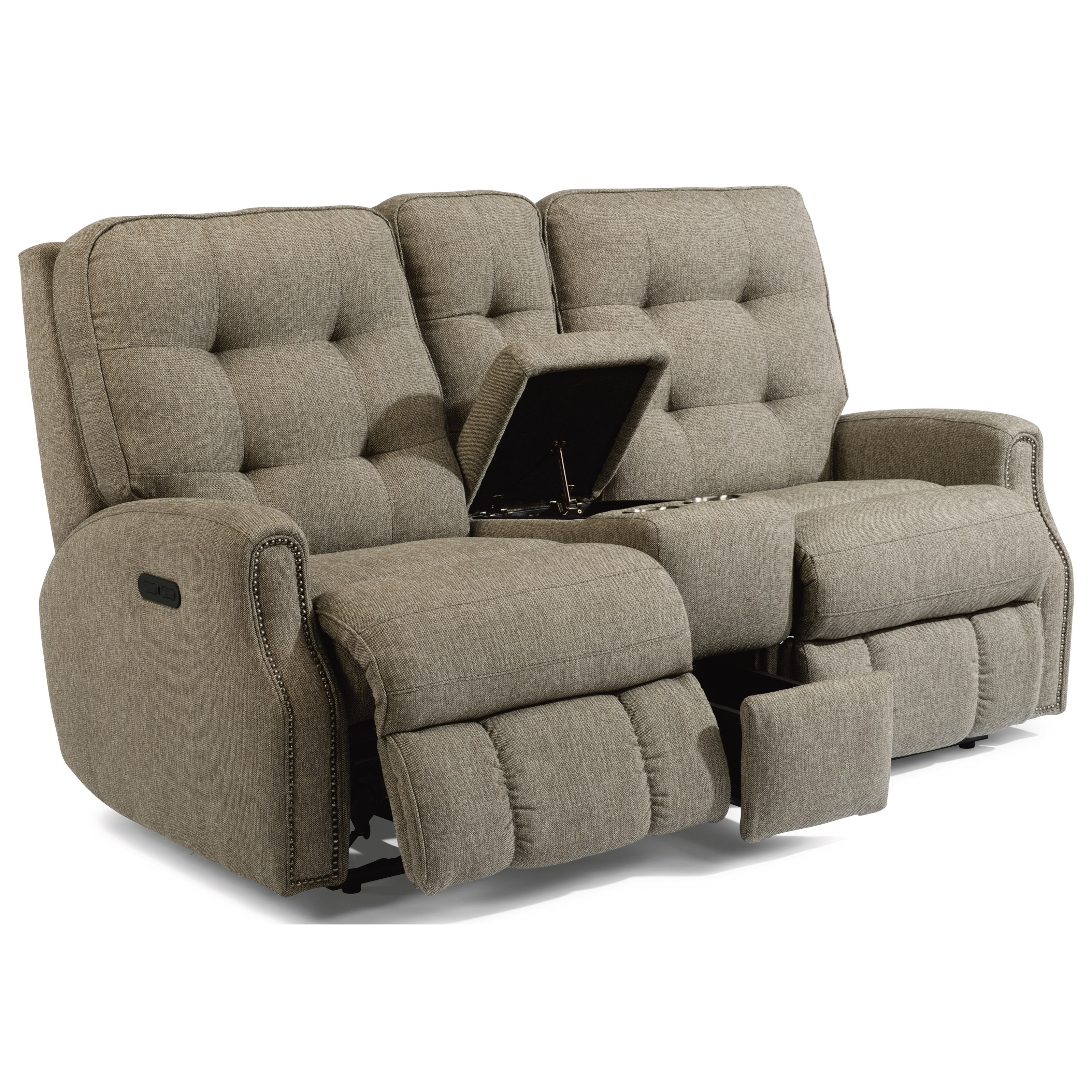 Devon Power Reclining Loveseat with Console by Flexsteel at Jordan's Home Furnishings