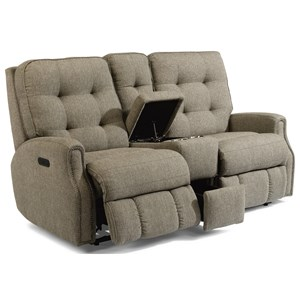 Button Tufted Power Reclining Loveseat with Console and USB Port