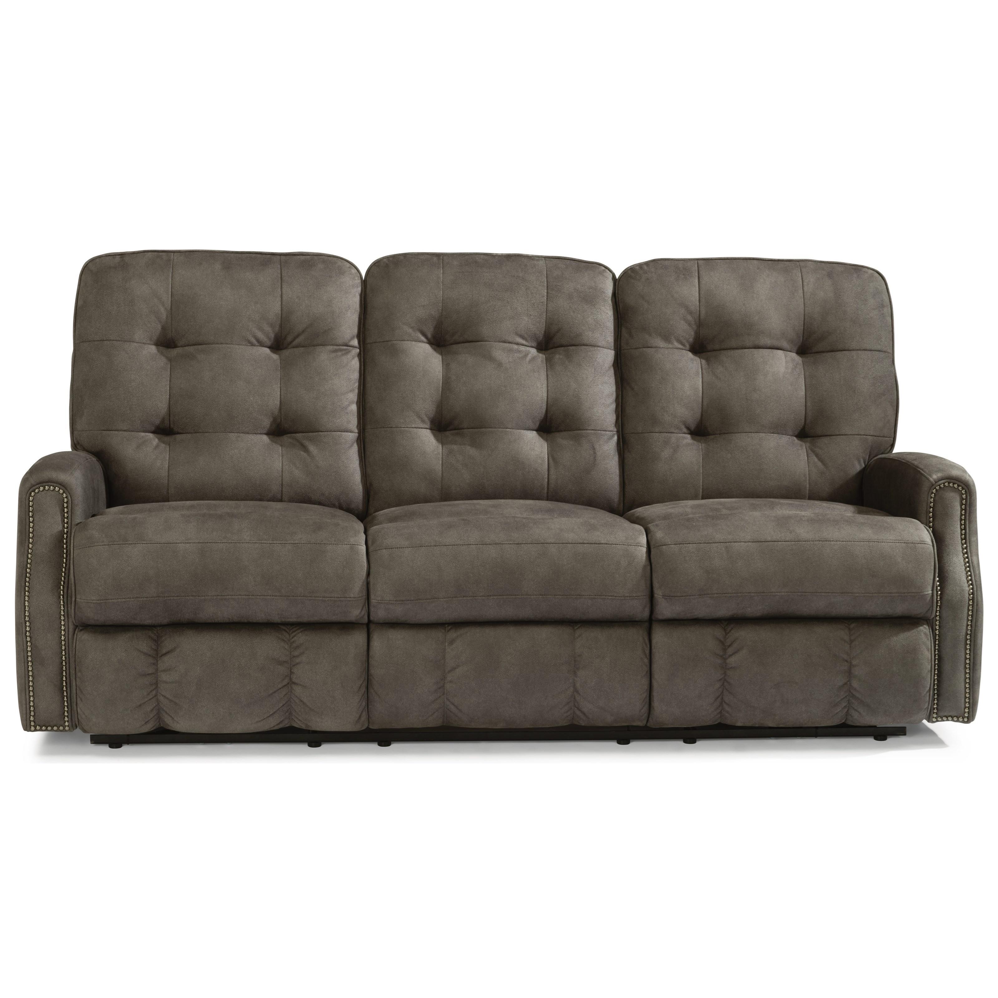 Devon Power Reclining Sofa with Power Headrests by Flexsteel at Mueller Furniture