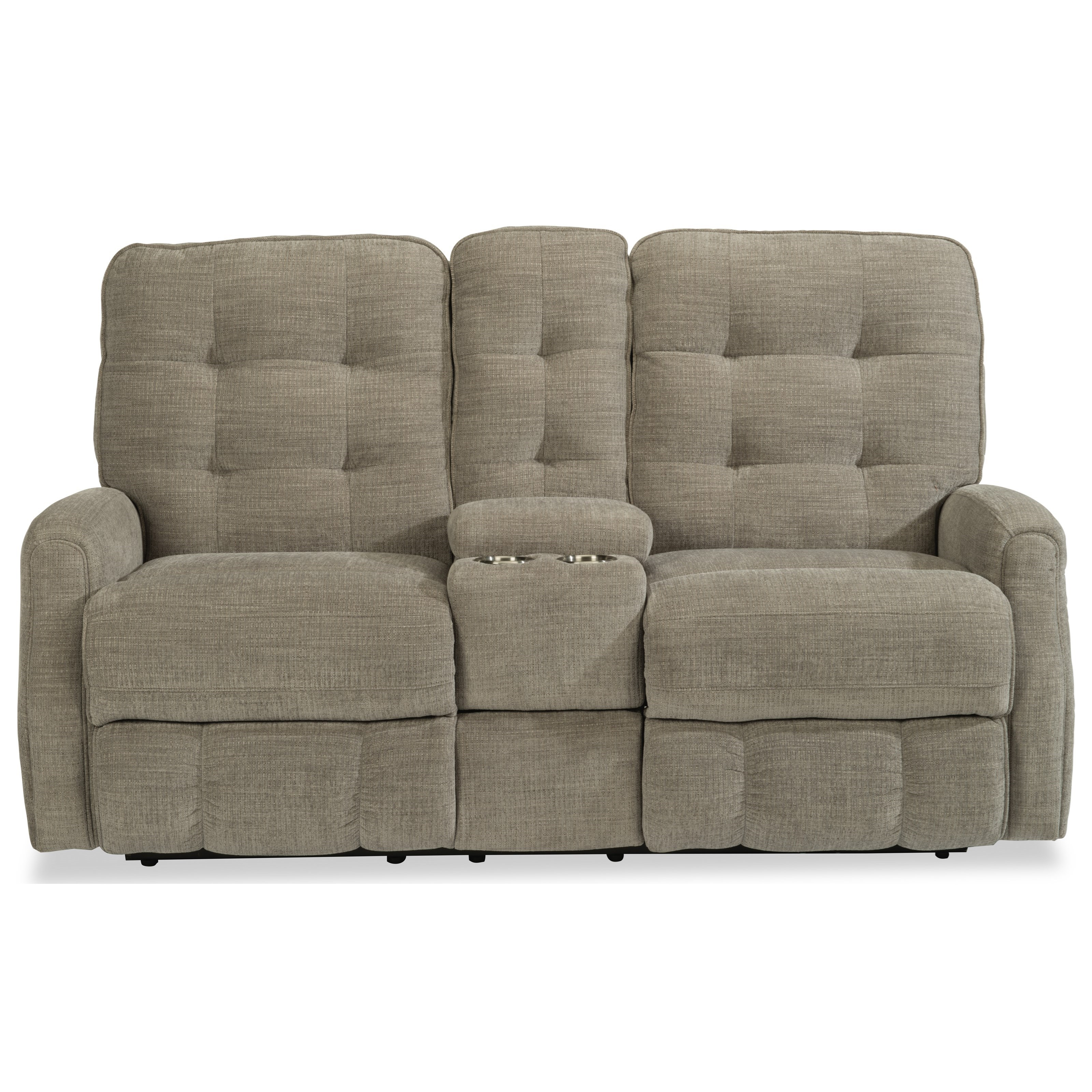 Devon Reclining Loveseat with Console by Flexsteel at Steger's Furniture