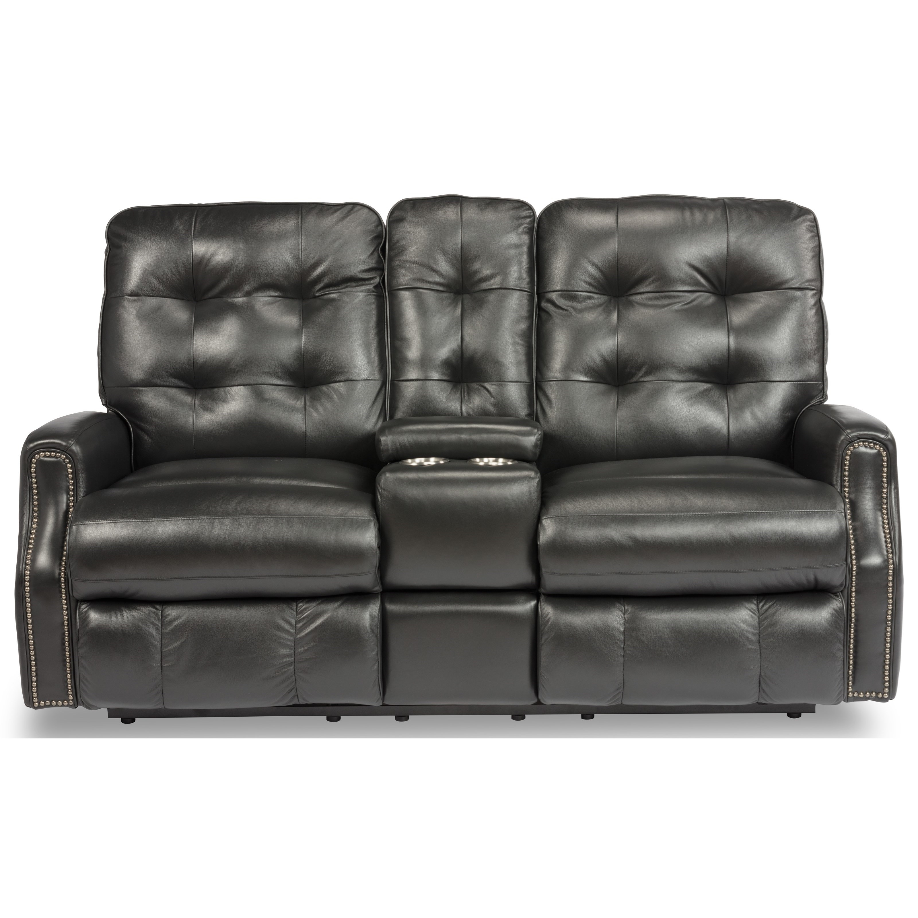 Devon Power Reclining Loveseat with Console by Flexsteel at Furniture and ApplianceMart