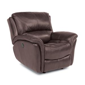 Casual Glider Recliner with Power Motion and Folded Pillow Arms