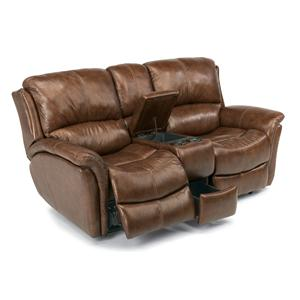 Casual Reclining Love Seat with Power Motion and Drink Storage Console