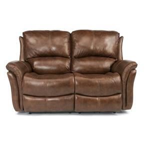 Casual Reclining Love Seat with Power Motion and Folded Pillow Arms