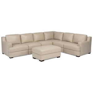 Contemporary 7-Piece Adjustable Back Sectional with Ottoman