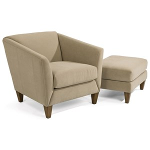 Transitional Chair and Ottoman Set with Flare Tapered Arms