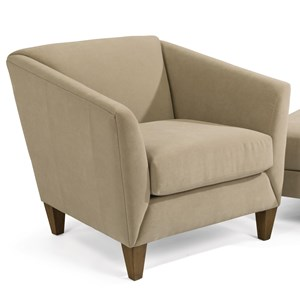 Transitional Upholstered Chair with Flare Tapered Arms