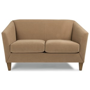 Transitional Loveseat with Flare Tapered Arms