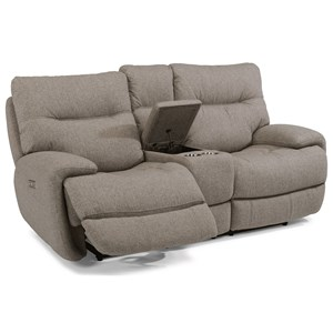 Power Love Seat with Power Headrests and Built-In Storage