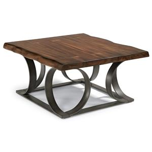 Rustic Log-Cut Square Cocktail Table with Dark Metal Base
