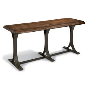 Rustic Log-Cut Sofa Table with Dark Iron Base