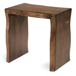 Rustic Log-Cut Chairside Table